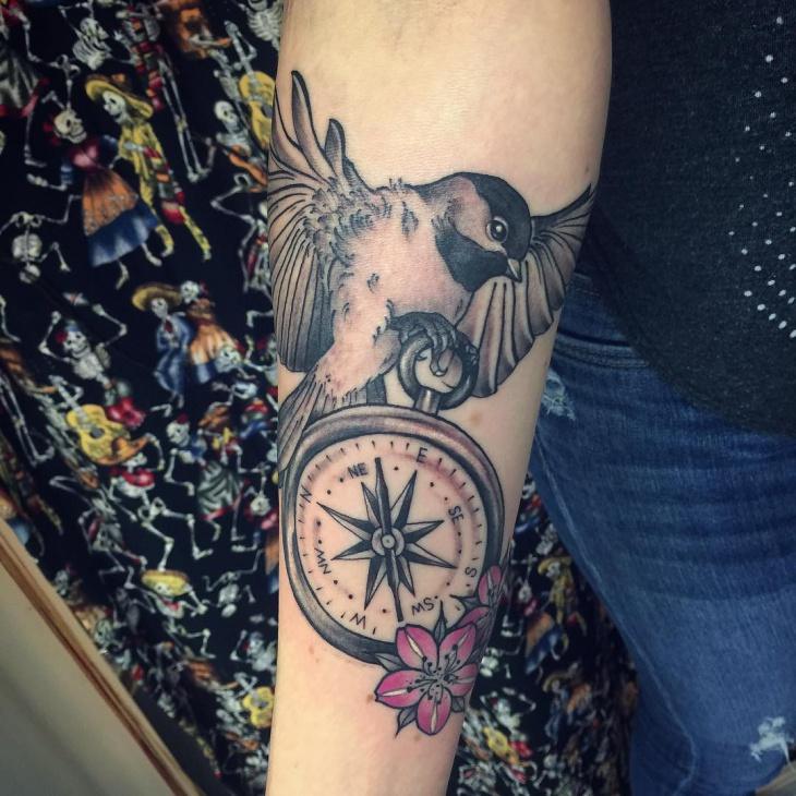 Compass Flower and Bird Tattoo