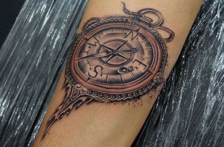 3D Compass Tattoo on Hand