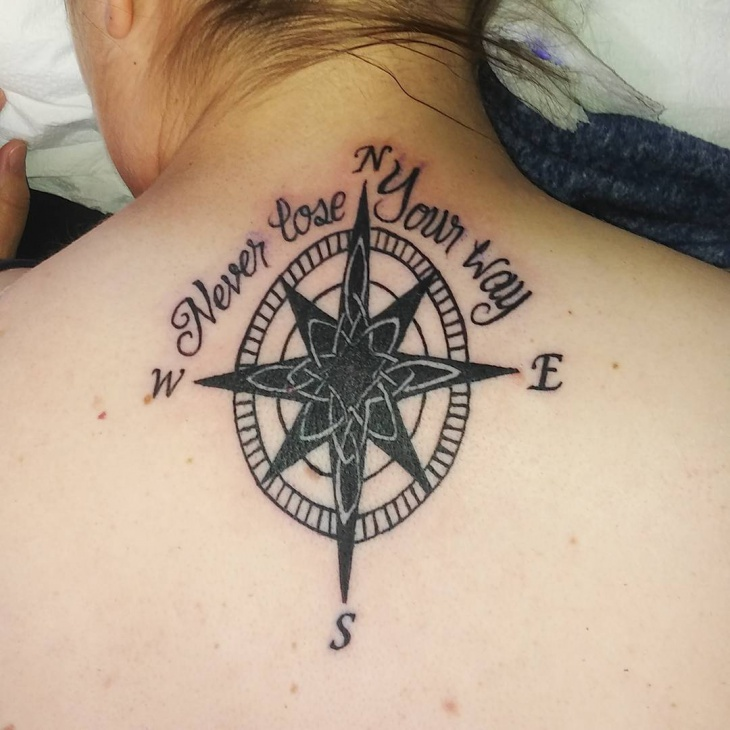 Celtic Compass Tattoo on Back