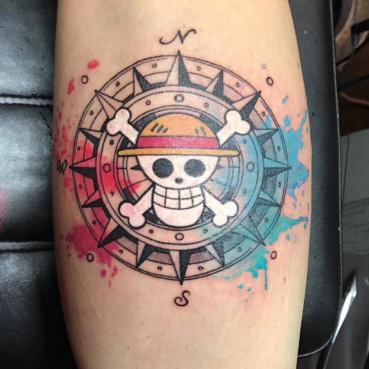 Skull Nautical Compass Tattoo