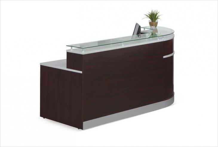modern glass top reception desk