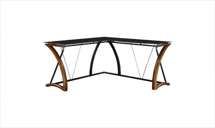 modern l shaped black glass desk