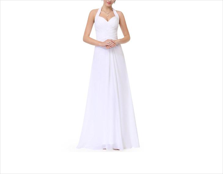 halter maxi beach wedding dress