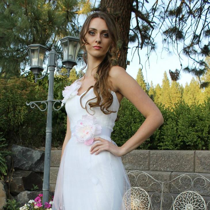 Belted Summer Beach Wedding Dress