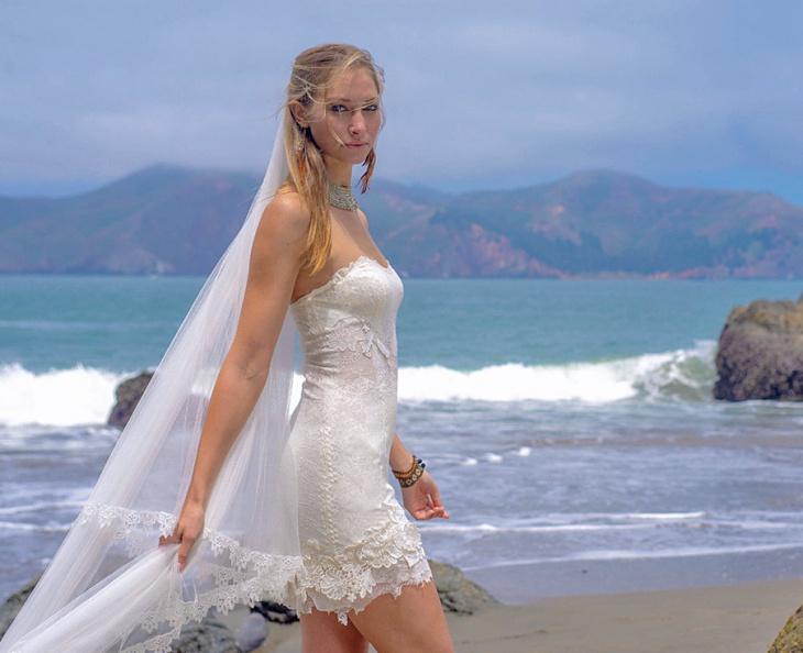 strapless beach short wedding dress