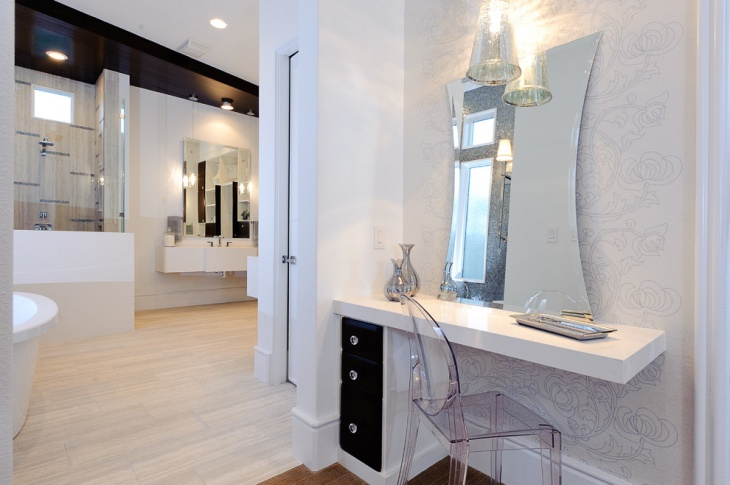 modern vanity desk with mirror