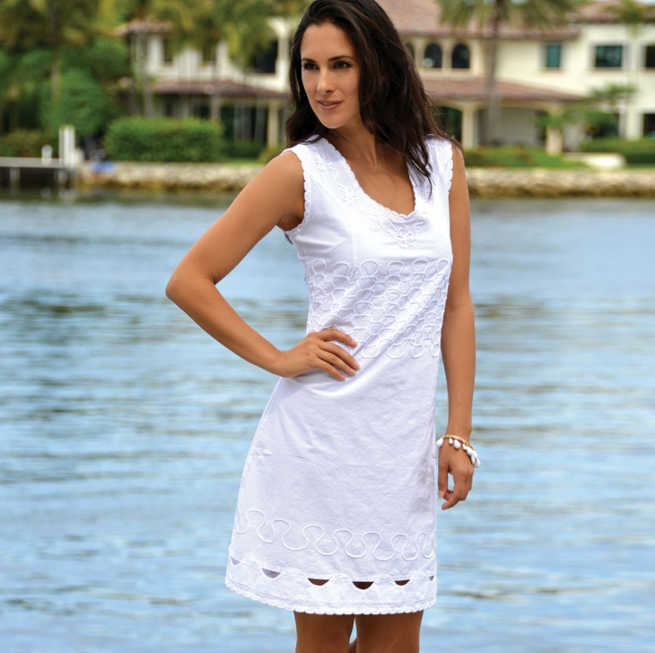 Cotton White Beach Wedding Dress