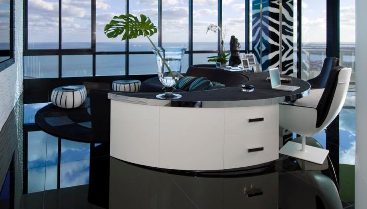 modern black and white desk design