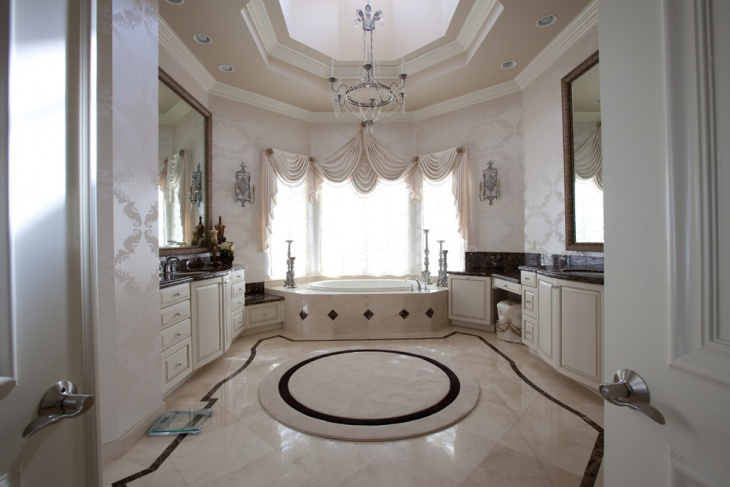 traditional round bathroom rug design