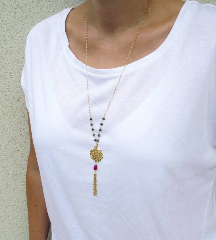 long gold necklace for women