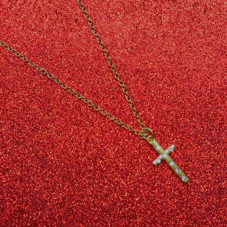 long gold cross necklace
