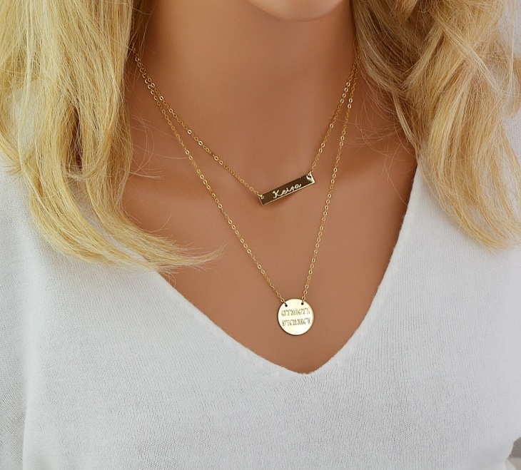 gold name layered necklace