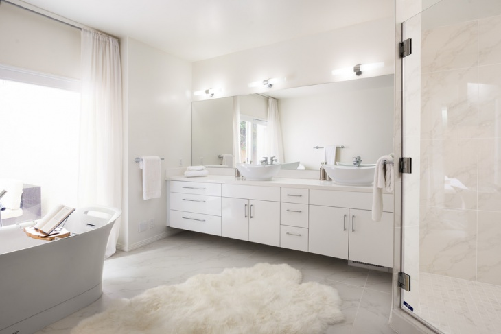 modern white bathroom rug