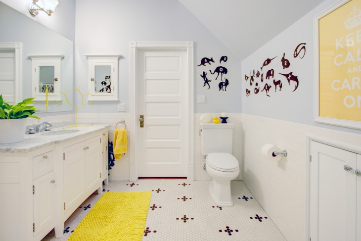 Yellow Rug for Kid's Bathroom