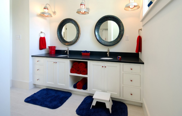 bright blue rug for kids bathroom