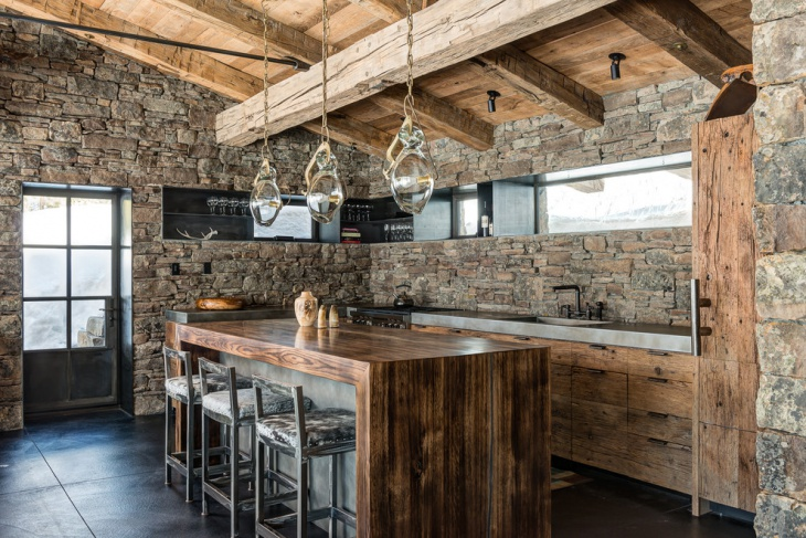 Contemporary Rustic Stone Wall Kitchen