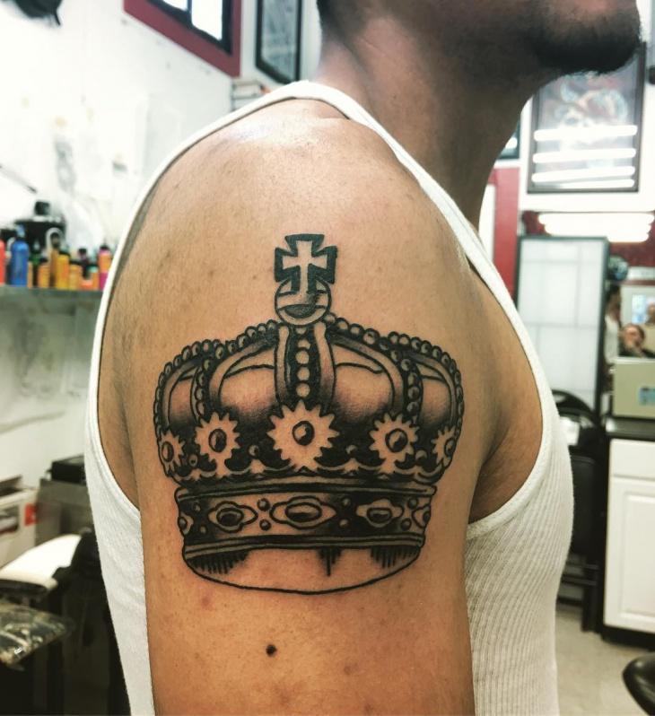 crown half sleeve tattoo