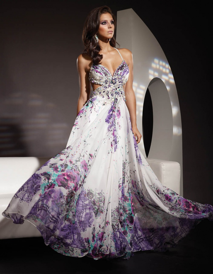 floral rhinestone prom dress