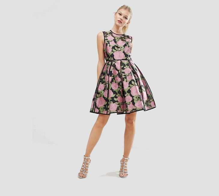 floral prom mini dress