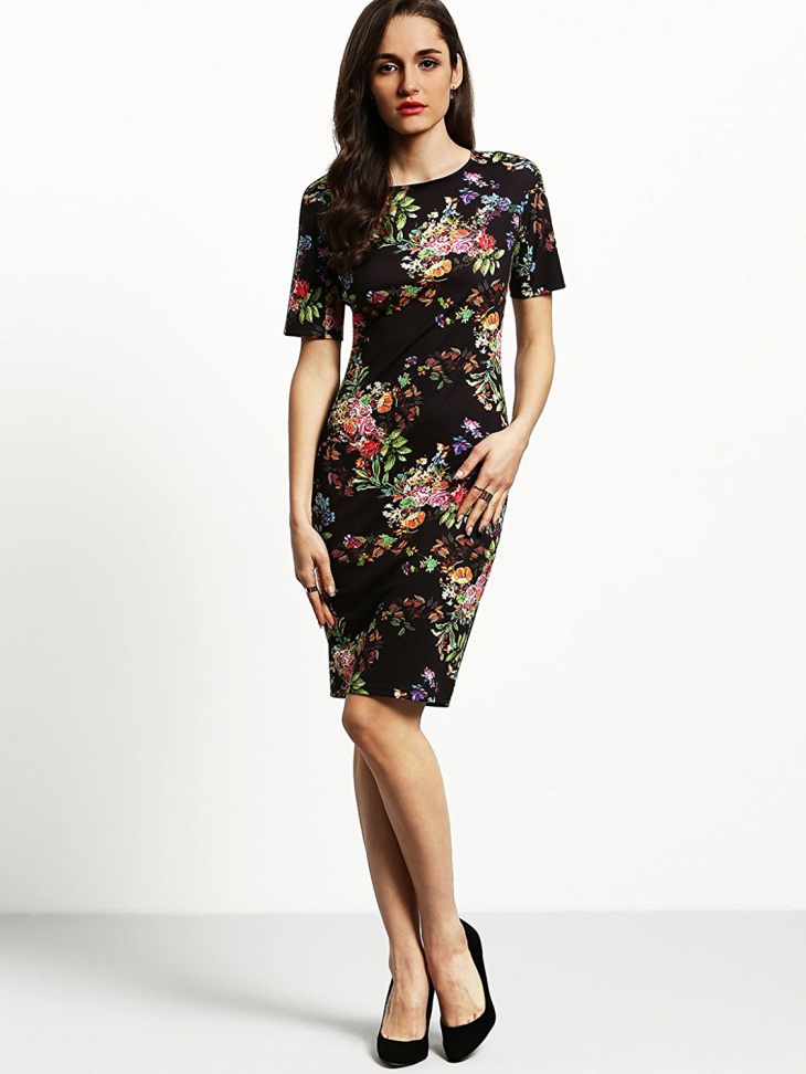 floral bodycon sleeve dress