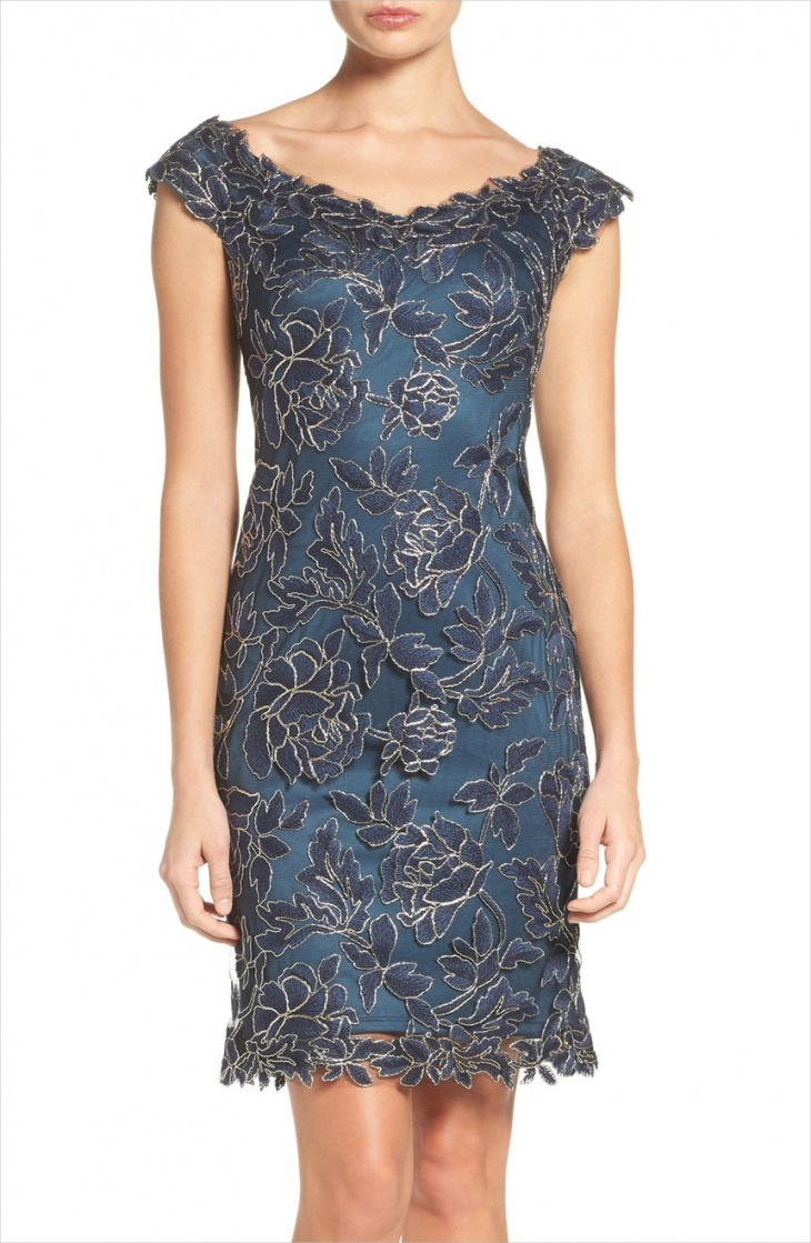 floral mesh sheath dress