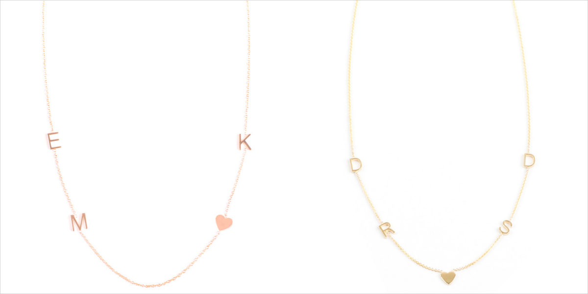 asymmetrical letter charm necklace