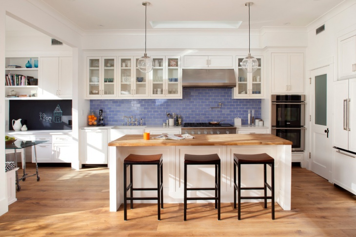 blue kitchen backsplash tile