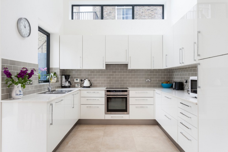 modern kitchen subway tile
