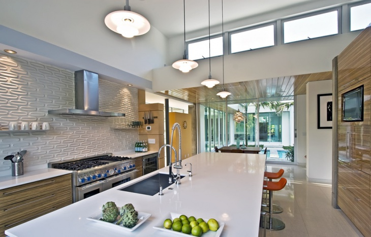 modern kitchen dimensional tile