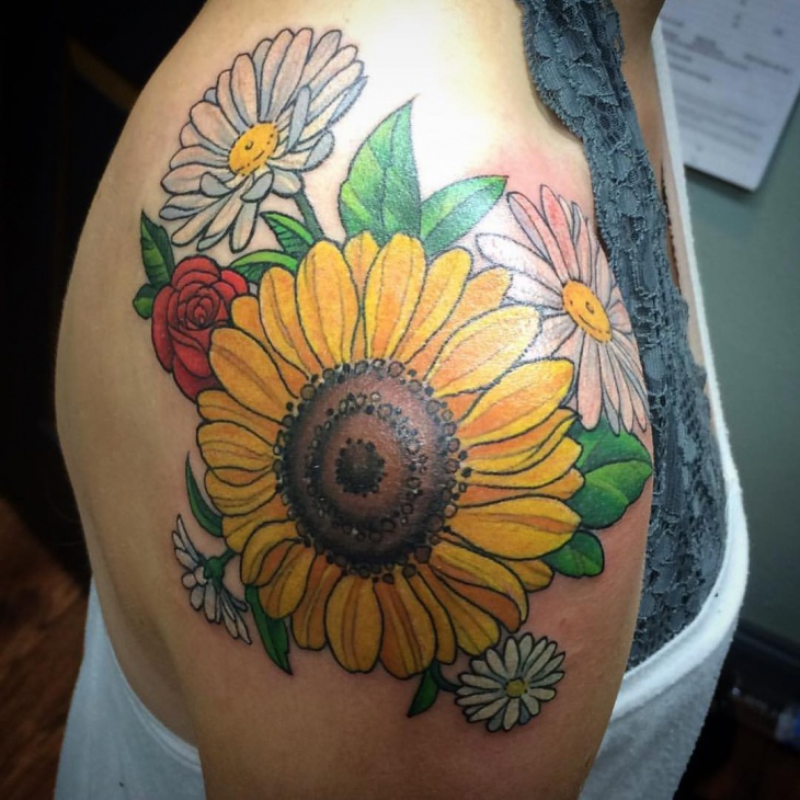 traditional sunflower tattoo for women