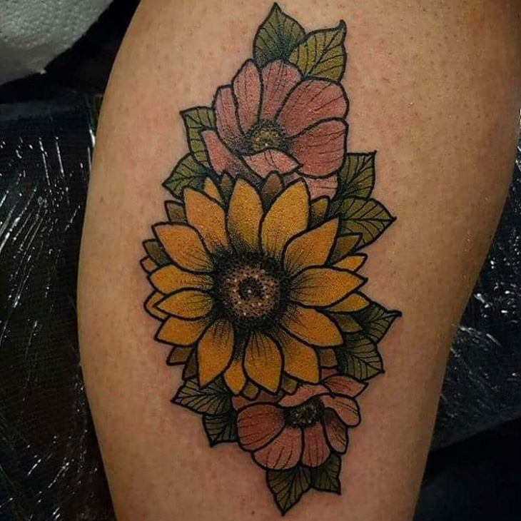 traditional sunflower tattoo on thigh