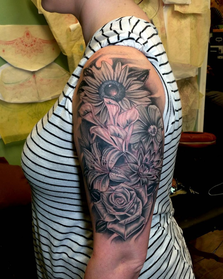 sunflower and rose sleeve tattoo