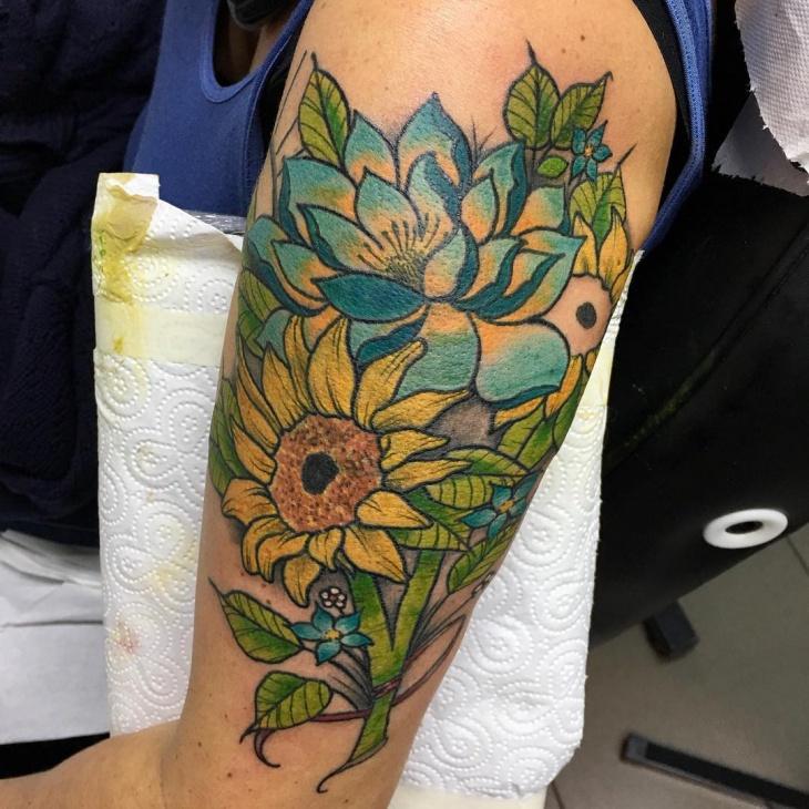 Sunflower Sleeve Neo Tattoo