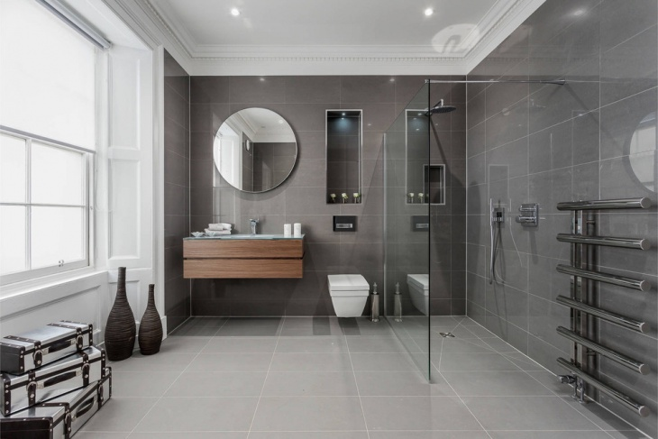 contemporary glass walk in shower bathroom