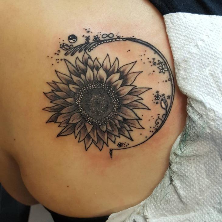 Sunflower Back Shoulder Tattoo