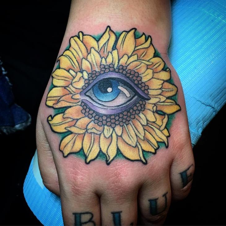 3D Sunflower Tattoo on Hand