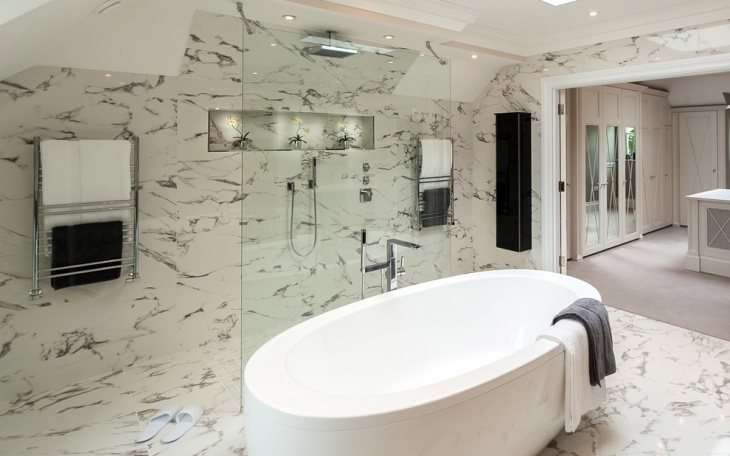 marble wall walk in shower