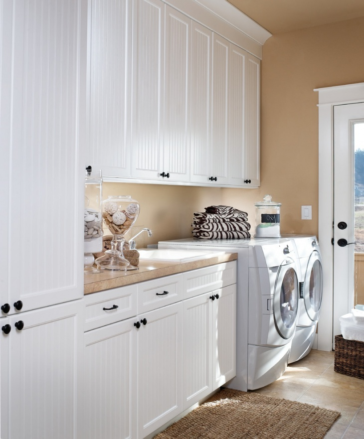 white laundry room wall cabinet