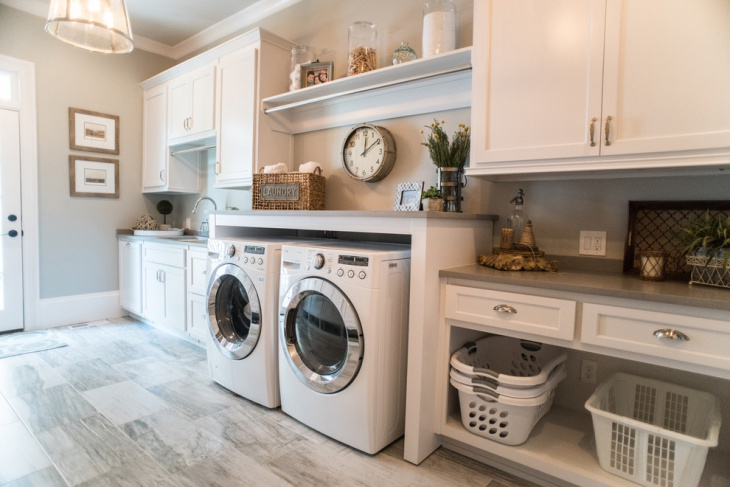 white laundry room vanity cabinets