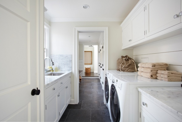 white laundry room base cabinets