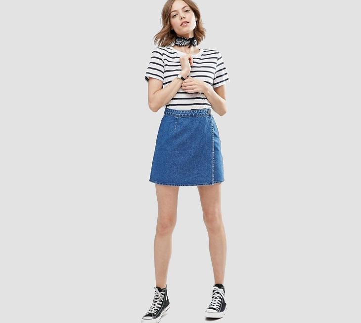 wrap denim mini skirts for women