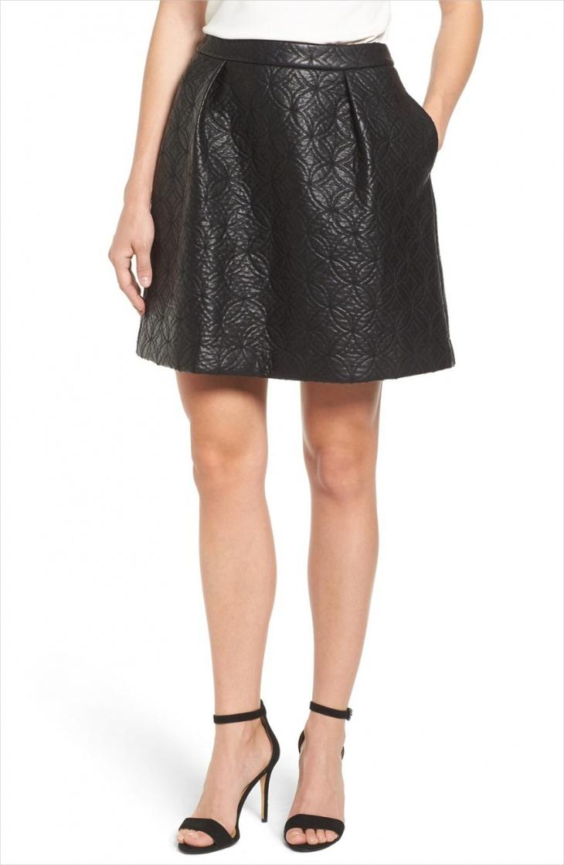 faux denim mini skirt