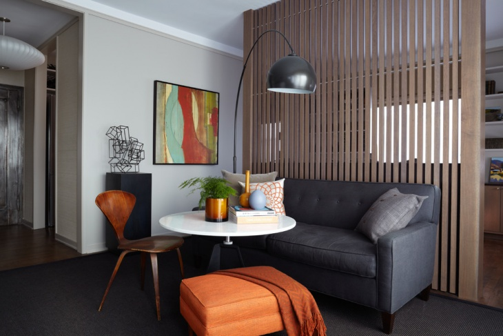 Small Modern Living Room with Grey Sofa