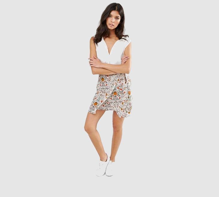 wrap mini floral skirt