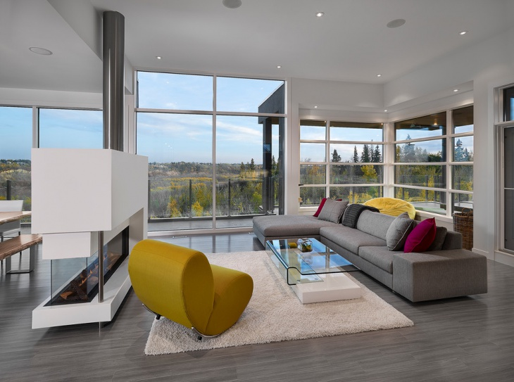 modern grey and white living room