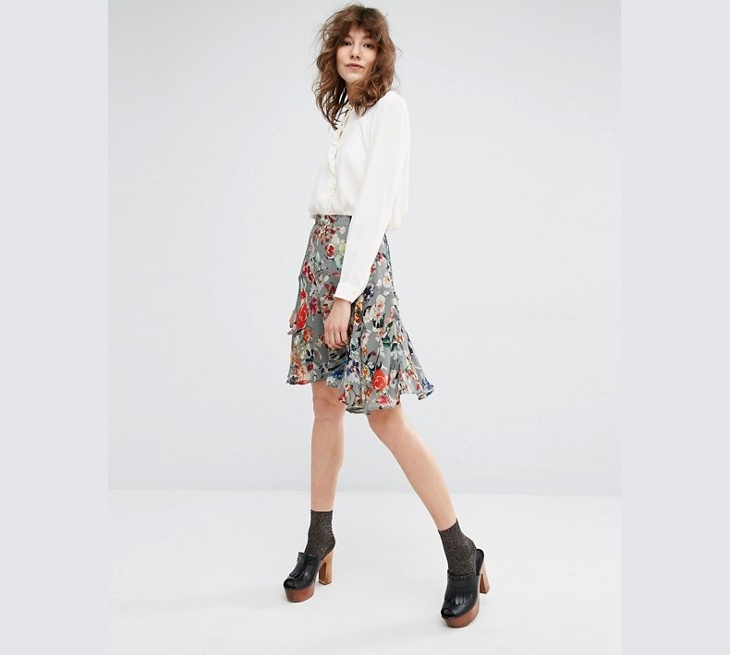 asos floral mini skirt