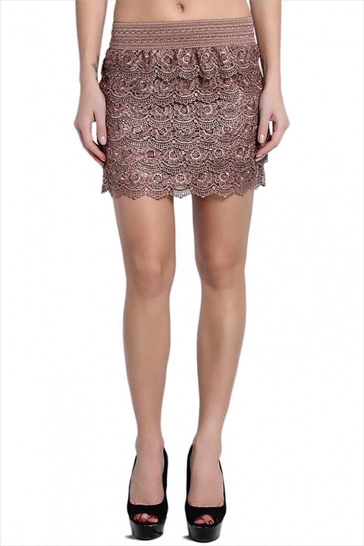 crochet lace mini skirt