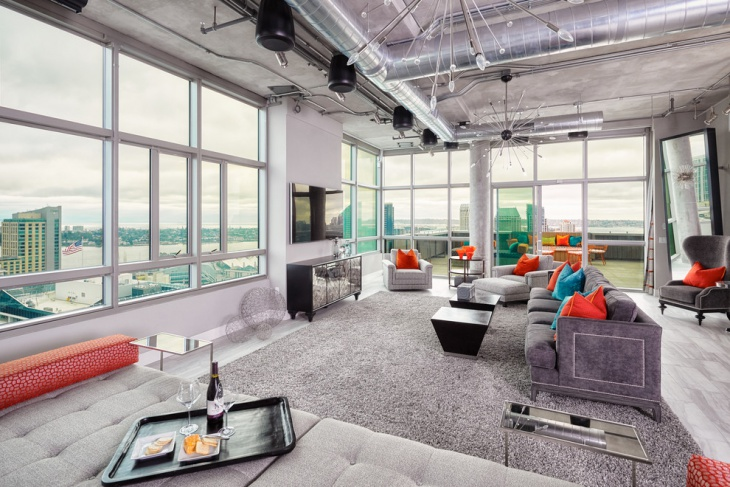 Modern Industrial Penthouse Living Room