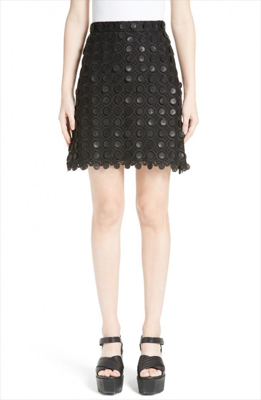 high waisted black mini skirt