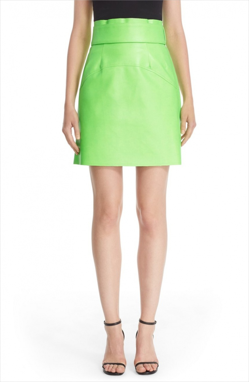 neon high waisted mini skirt